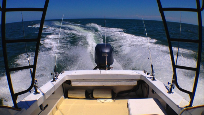 Hilton Head trolling for fish behind boat on charter