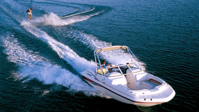 watersports combo boat pulling wake boarder in hilton head
